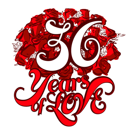 number 36: 36 Years of Love with nice bouquet of roses, Invitation Card Design, Hand Drawn Vector Artwork