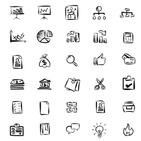 sketched icons: Hand-drawn Business Icons Pattern, Vector sketched Artwork