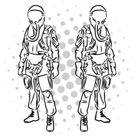 Pilot avec uniforme debout vue Outline plein Sketch