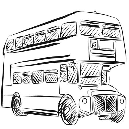 Esquema del autobús de Londres a pulso del vector del bosquejo