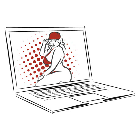 technologie: Laptop with Overweight Nice Girl, Concept Dating App Design Illustration