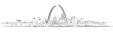 세인트 루이스, 미주리, 손으로 그린 외곽선 스케치, 벡터 아트웍