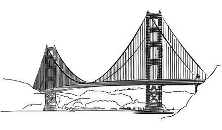 Golden Gate Bridge, San Francisco, Contour Croquis, Hand-drawn Vector Artwork