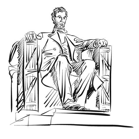 에이브 러햄 링컨 프리 핸드 스케치 벡터 아트웍