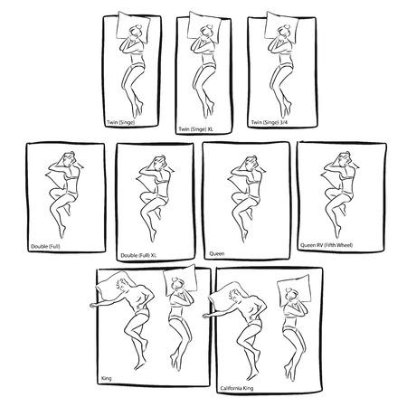 Verschiedene Bettgrößen mit Menschen schlafen, Vektor handgezeichneten Skizzen