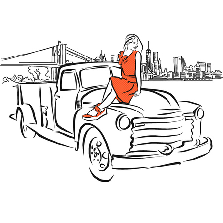 new york city panorama: Girl on Car in Front of New York City Panorama, Outline Sketch
