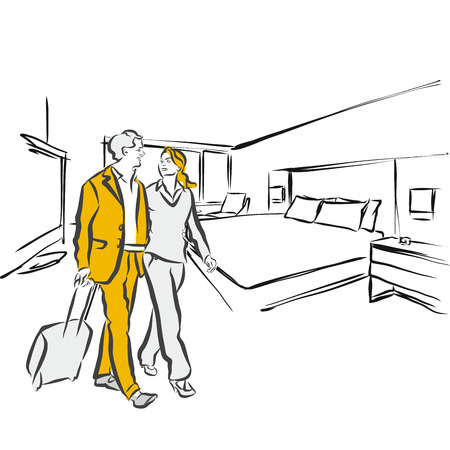 hotel room: Travel couple in hotel Room Accommodation, Sketch
