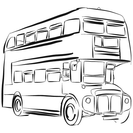 london bus: London Bus Vector Drawing Outline Version