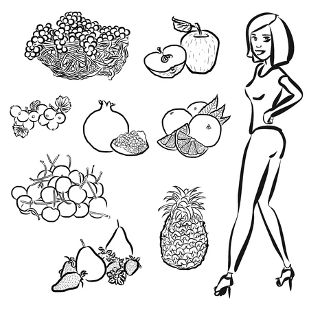 healty: Fruits Outline Sketches with nice healty Girl, vector Artwork