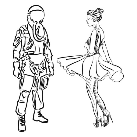 military girl: Pilot and Dancer, Hand drawn Sketch, Vector Artwork