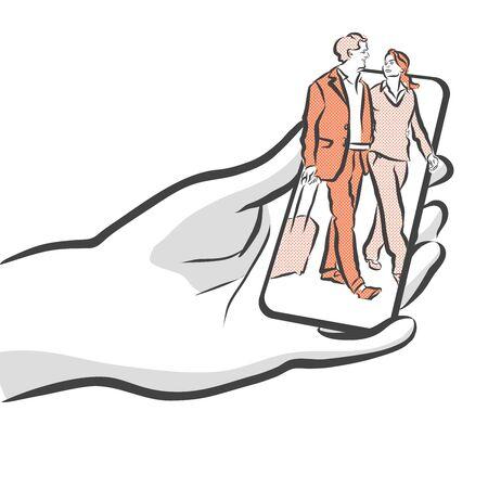 smartphone hand: Travel People On Smartphone Concept App Design, Hand drawn Sketch Illustration