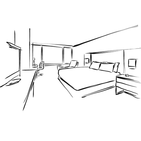 Modern Hotel Room Kig Size Bed, Vector Illustration Outline Drawing
