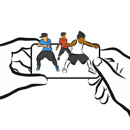 cellphone in hand: Kids dance on Cellphone, Concept App Design, Hand drawn Artwork