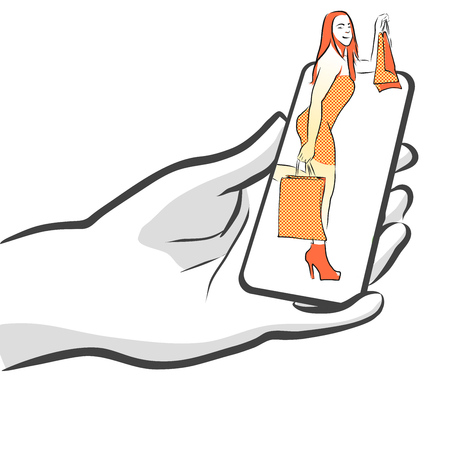 Female with Bags on Smartphone, Concept for Mobile Shopping Queen, Vector Outline Sketch
