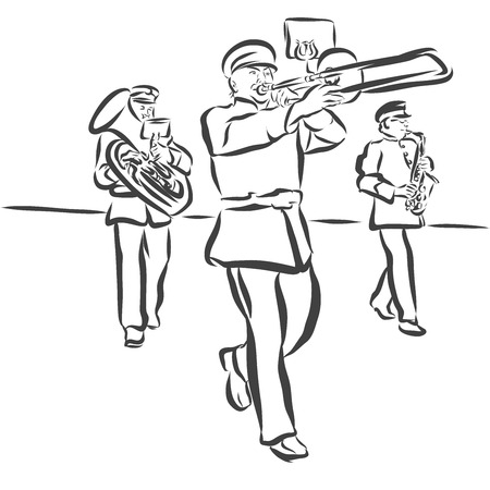 music band: Marching Band performes Folk Music, Outline Vector Sketch