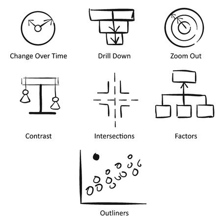 storytelling: Storytelling with Data Concept Workflow Design, Hand drawn Vector Icons Illustration