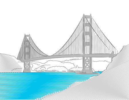 ゴールデン ゲート ブリッジ、サンフランシスコ、カラー スケッチ、手で描かれたベクトルアートワーク