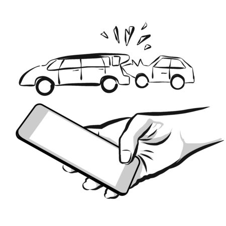 using smart phone: Broken Car Insurance Concept Sketch