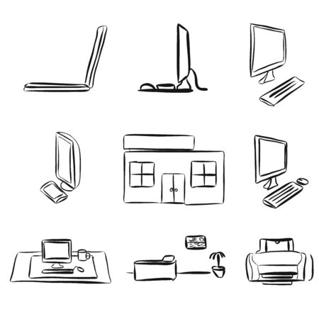 assets: Sketches of Laptops and Desktop PC, E-Learning Assets, Vector Sketches Illustration