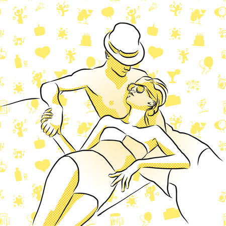 wealthy man: Wealthy young couple sunbathing with some doodles in Background, Vector Outline Sketch