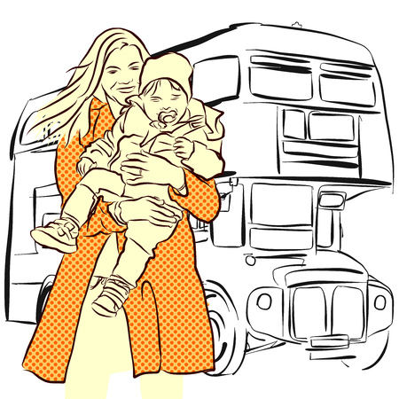 london bus: Mother and Child in Front of London Bus, Vector Sketch