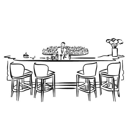 hotel bar: Empty Hotel Bar with Bartender, Vector Hand drawn Artwork