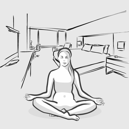 indoors: Perfect Yoga Pose at floor indoors, Vector Outline Sketch Illustration