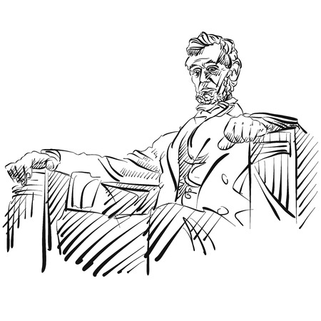 lincoln: Abraham Lincoln Sketch Side View Vector Artwork