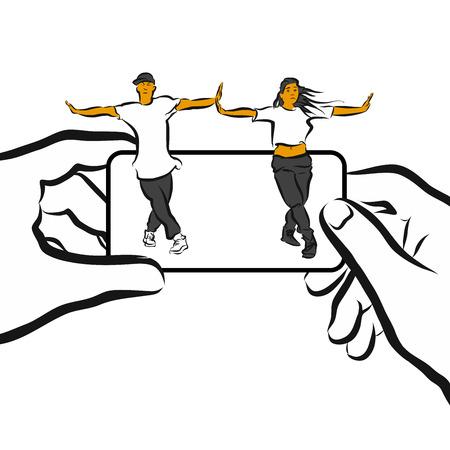 choreography: Training Choreography App Concept Design Sketch, Hand drawn Vector Design