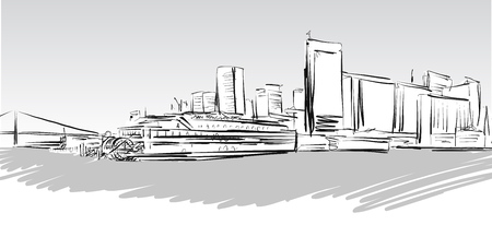 greyscale: San Francisco Downtown greyscale Sketch, Hand-drawn Vector Artwork