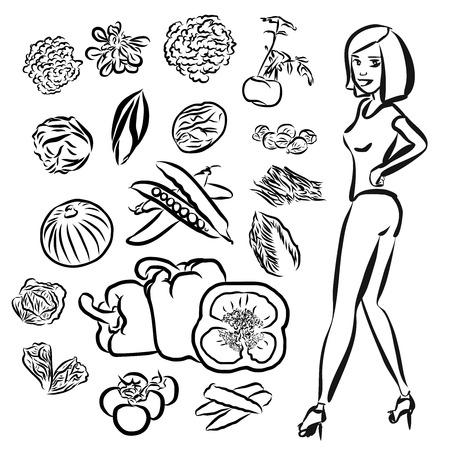 healty: Vegetables Doodles with Healty Girl, Vector Outline Sketch Illustration