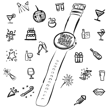 new years eve: New Years Eve Doodles with Watch, Vector Outline Sketches
