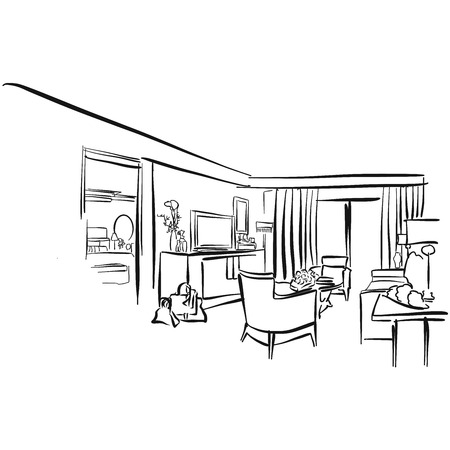 Hote Suite Vector Outline Sketch, hand drawn Image Ilustração Vetorial