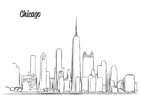 Chicago Skyline, Hand gezeichnet Silhouette Standard-Bild - 59653082
