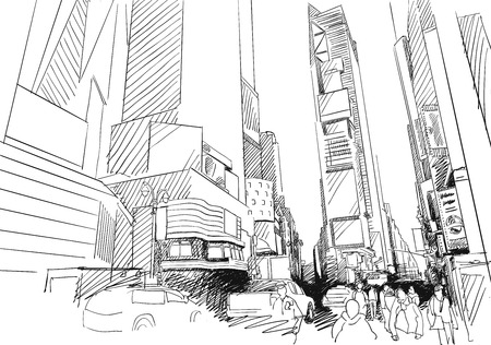 Time Square, New York City. Hand-drawn Outline Sketch Vettoriali