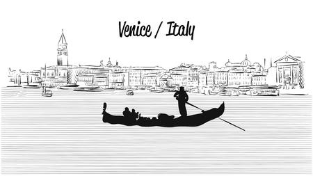 Venise horizon avec Gondola Banque d'images - 59653086