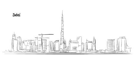 emirates: Dubai, United Arab Emirates. Panorama Outline Sketch. Illustration
