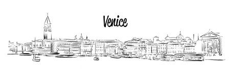 basilica: Venice Skyline, Italy, hand drawn Sketch, Outline Silhouette