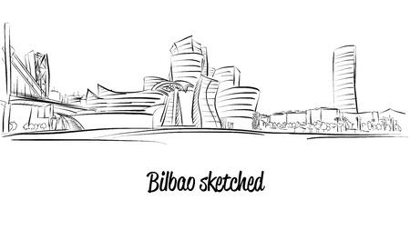 Bilbao Skyline, Hand drawn Artwork Zdjęcie Seryjne - 59653089