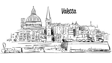 Valetta, Malta. Panorama Waterfront Outline Sketch. Famous Landmark Illustration