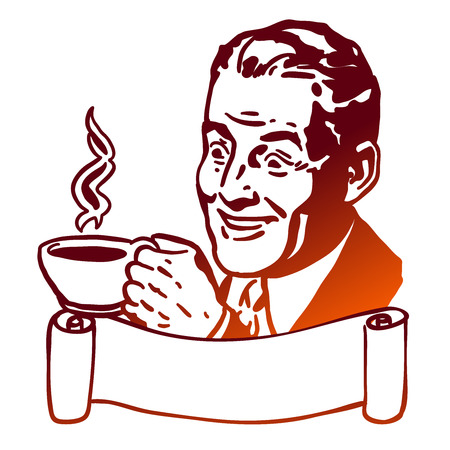 Comic Man presents Cup of Coffee, Vintage Illustration with Banner Çizim