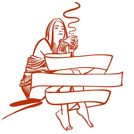 Femme tenant une tasse de café à l'arrière de la bannière, Scène de réveil dans l'hôtel ou une chambre à la maison. Artwork dessiné à la main pour tout type de publicité. Banque d'images - 59653100