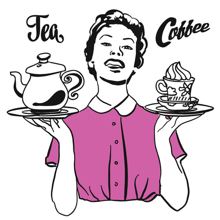 vintage cafe: Vintage Waitress presents Coffee and Tea, Hand drawn Sketch with lettering Artwork. Useful for Cafe and Restaurant in any kind of advertising for web and Print. Illustration