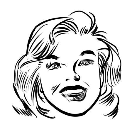 Vintage Talking Woman Portret, Hand getrokken Grappige Stijl door Pen. Vector Illustratie