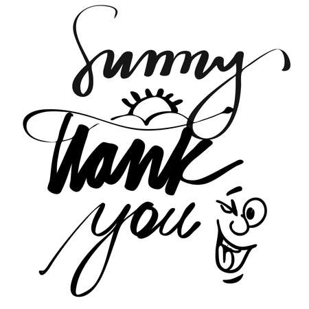 hand lettered: Hand lettered Sunny Thank You