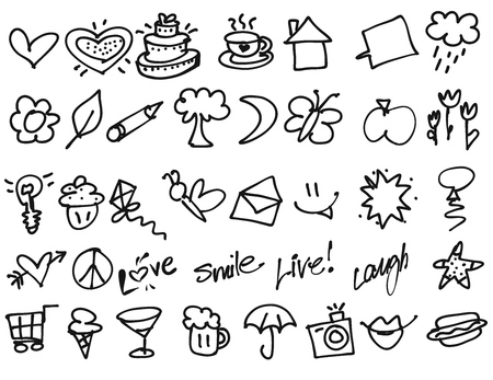 glas: Hand drawn Tiny birthday Party doodles. Vector Outline Sketches. Useful for any kind of advertising in web and print.