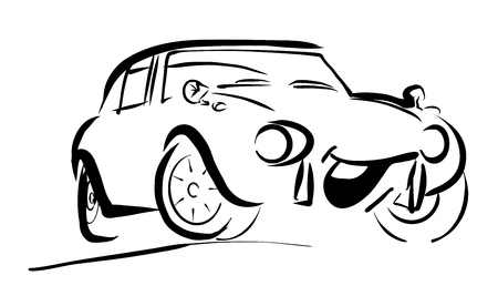 sportive: Simple sportive smiling Comic Car. Hand drawn Vector Outline Sketch. Useful for any kind of advertising in web and print.