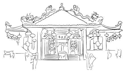 Saphan Hin Temple, Phuket Vacation Sketch, Famous Destination Landmark, Hand drawn Vector Artwork