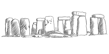 english countryside: Stonehenge, England Historical Monument Sketch, Famous Destination Landmark, Hand drawn Vector Artwork