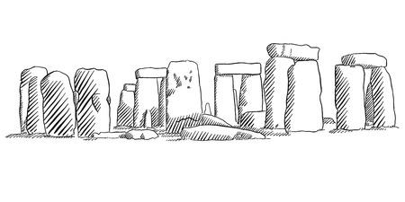 english countryside: Stonehenge, England Historical Monument Sketch, Famous Destination Landmark, Hand drawn Vector Artwork